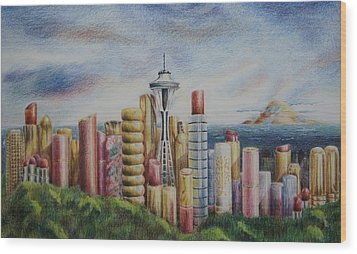 Kiss Of Seattle Wood Print by Mary Jo Jung