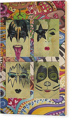 Kiss The Band Wood Print by Corporate Art Task Force