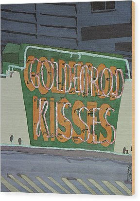 Kisses Neon Sign Wood Print by Daryl Shaw