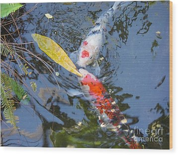 Kissin' Koi Wood Print by HEVi FineArt
