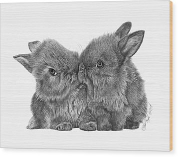 Kissing Bunnies - 035 Wood Print by Abbey Noelle