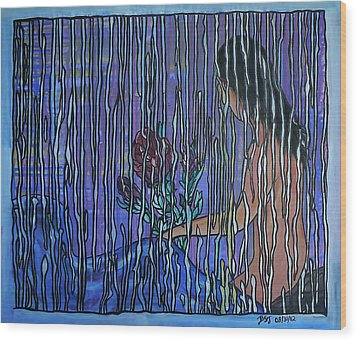 Kissing Rain Wood Print
