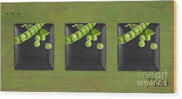Kitchen Art - Peas - 02t01b Wood Print by Aimelle