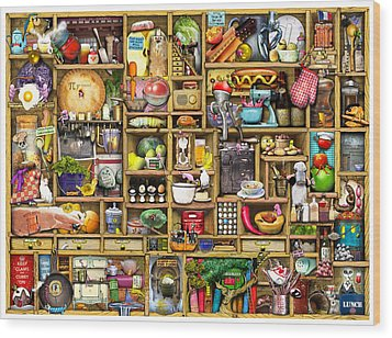 Kitchen Cupboard Wood Print by Colin Thompson