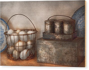 Kitchen - Food - Eggs - Fresh This Morning Wood Print by Mike Savad