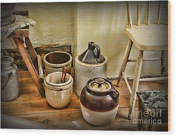 Kitchen Old Stoneware Wood Print by Paul Ward