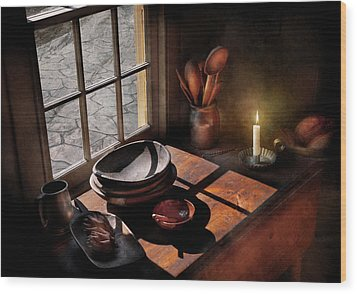 Kitchen - On A Table II  Wood Print by Mike Savad