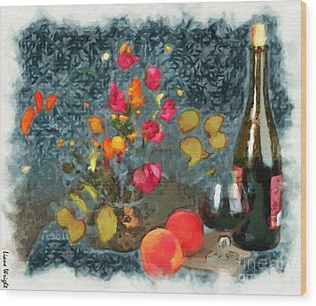 Kitchen - Peaches And Wine Painting  Wood Print
