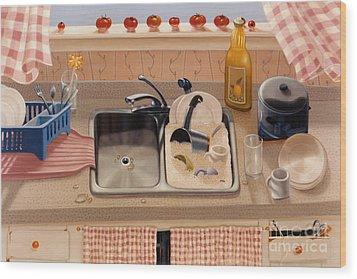 Kitchen Sink Bubba Lees 1997  Skewed Perspective Series 1991 - 2000 Wood Print by Larry Preston