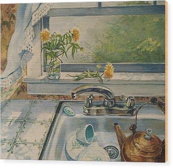 Kitchen Sink Wood Print by Joy Nichols