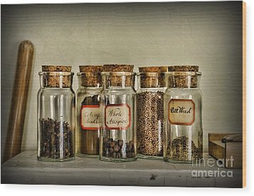 Kitchen Spices Colonial Era Wood Print by Paul Ward