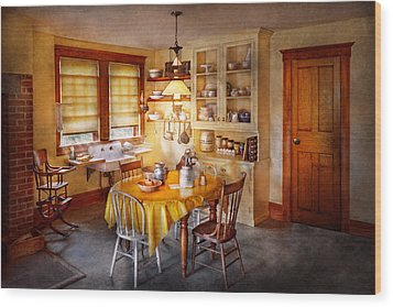 Kitchen - Typical Farm Kitchen  Wood Print by Mike Savad