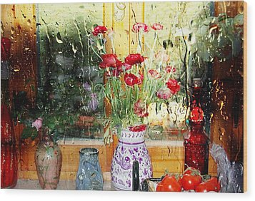 Kitchen Window Reverse Perspective Wood Print by Dorothy Berry-Lound