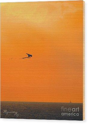 Kite-flying At Sunset Wood Print