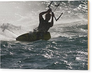 Kite Surfer 02 Wood Print by Rick Piper Photography
