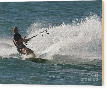 Kite Surfer 04 Wood Print by Rick Piper Photography