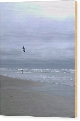 Kite Surfing Wood Print by Heather L Wright