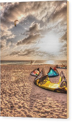 Kitebeach In Bonaire Wood Print