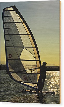 Wood Print featuring the photograph Kiteboarder Sunset by Sonya Lang