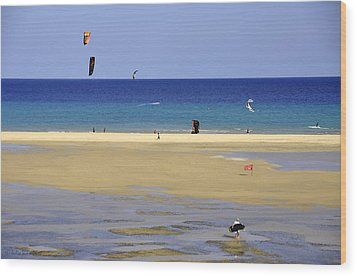 Wood Print featuring the photograph Kitesurfing Spot And Beach View At Melia Gorionez  by Julis Simo
