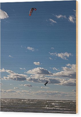 Kitesurfing The Long Island Sound Wood Print by June Jacobsen