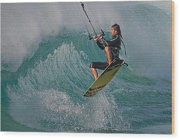 Kiting Los Lances Wood Print by AJM Photography