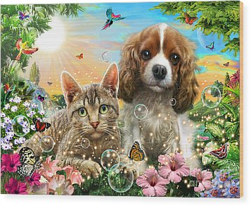 Kitten And Puppy Wood Print by Adrian Chesterman