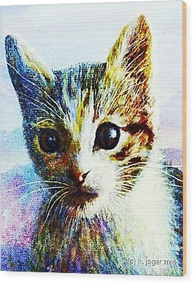 Wood Print featuring the painting Kitten  Close by Hartmut Jager