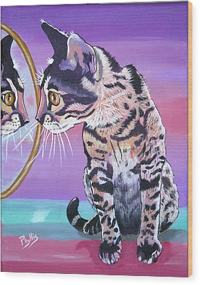 Wood Print featuring the painting Kitten Image by Phyllis Kaltenbach