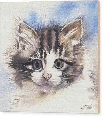Wood Print featuring the painting Kitten Lily by Sandra Phryce-Jones