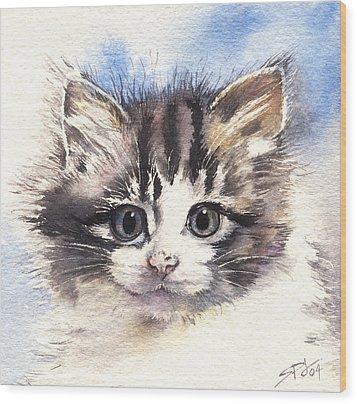 Kitten Lily Wood Print by Sandra Phryce-Jones