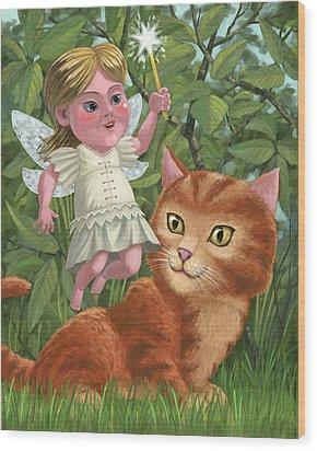 Kitten With Girl Fairy In Garden Wood Print by Martin Davey