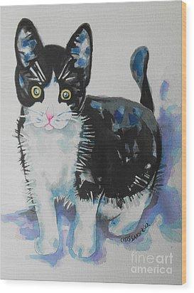 Kitty Wood Print by Chrisann Ellis