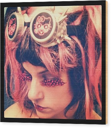 #kitty #hellokitty #steampunk #goggles Wood Print by Rick Kuperberg Sr