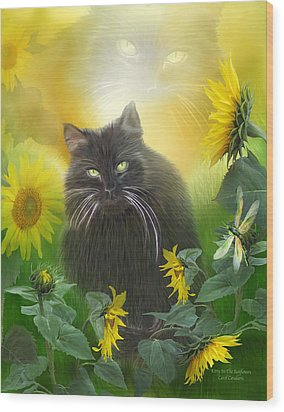 Kitty In The Sunflowers Wood Print by Carol Cavalaris