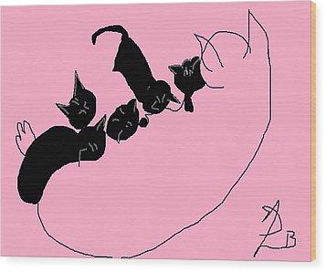 Kitty Litter  Wood Print by Anita Dale Livaditis