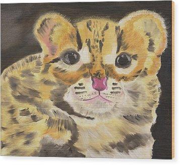 Peek A Boo Kitty Wood Print
