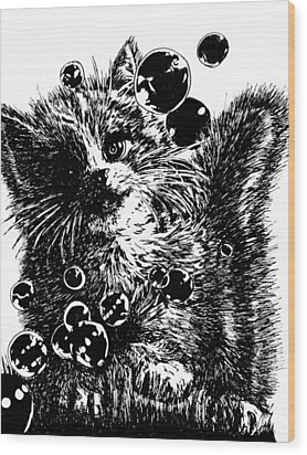 Wood Print featuring the painting Kitty by Shabnam Nassir