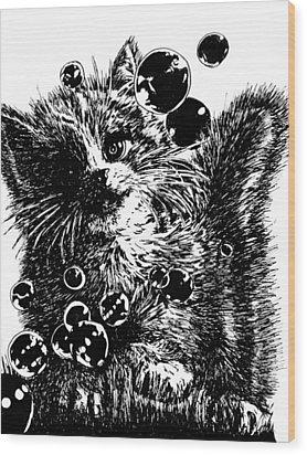 Kitty Wood Print by Shabnam Nassir
