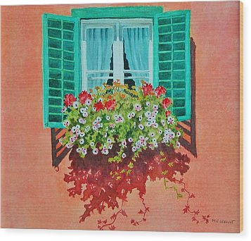 Wood Print featuring the painting Kitzbuhel Window by Mary Ellen Mueller Legault