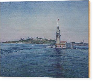 Kiz Kulezi Leander's Tower Istanbul Turkey Wood Print by Enver Larney