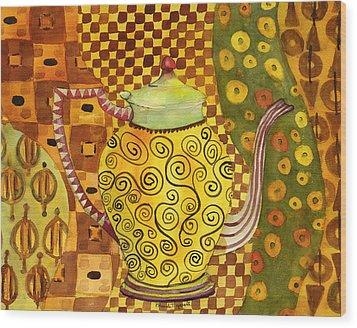 Klimt Style Teapot Blenda Studio Wood Print by Blenda Studio