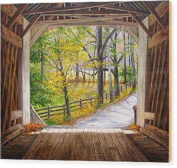 Knecht's Covered Bridge Wood Print by Helen Lee Meyers