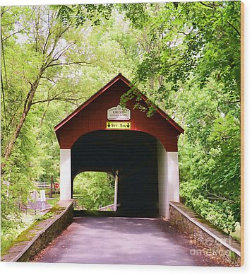 Knecht's Covered Bridge Wood Print by Paul Ward