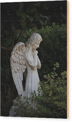 Kneeling Angel Wood Print