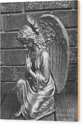 Kneeling Angel Wood Print