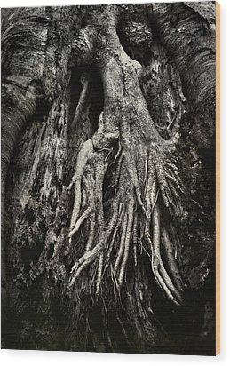 Kneeling At The Feet Of The Green Man Wood Print