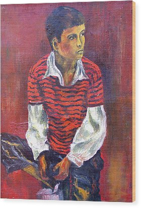 Wood Print featuring the painting Kneeling Boy by Walter Fahmy