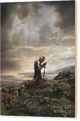 Kneeling Knight Wood Print by Jill Battaglia