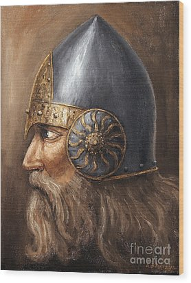 Wood Print featuring the painting Knight by Arturas Slapsys